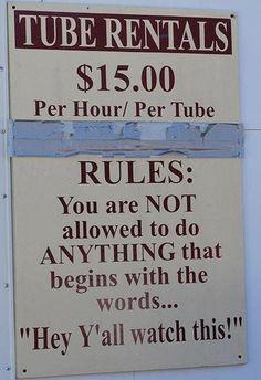Tubin' rules