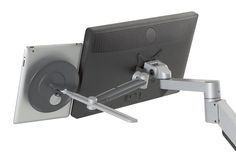 The Innovative Tablik Flexible Tablet Mount can be mounted behind your LCD monitor on VESA-compatible arms for dual screen use.