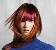 Innovative Hair Color Trend/ Copper red with cooler fushia fringe