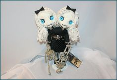11 inch Siamese twin doll Black Leather Corset, Black Hair Bows, Striped Stockings, Creepy Art, Silver Charm Bracelet, New Dolls, Vintage Buttons, Siamese, Hand Stitching