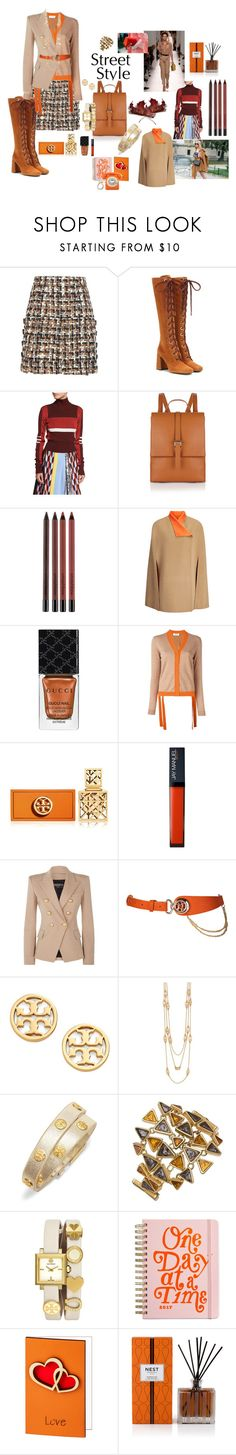 """""""Camel, Orange and Brown #tweed"""" by mbarbosa ❤ liked on Polyvore featuring Dolce&Gabbana, Hermès, Prada, Emilio Pucci, Smashbox, Joseph, Gucci, MSGM, Tory Burch and Balmain"""