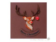 Quillingowa Kartka Bożonarodzeniowa z Rudolfem / Quilled Christmas Card with Rudolph