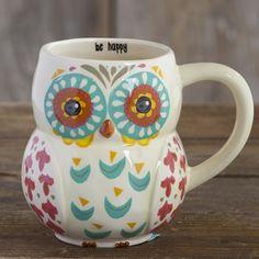 """Folk Owl Mug - """"BE HAPPY"""" Pinned by www.myowlbarn.com"""