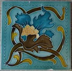 ANTIQUE-ENGLAND-ART-NOUVEAU-MAJOLICA-TILE-C1900