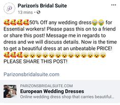 50% off any wedding dress for essential workers! European Wedding Dresses, Modest Wedding Dresses, Bridal Suite, Beautiful Dresses, Messages, Cute Dresses, Beautiful Gowns, Text Posts