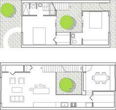 casa de quartos e jardim interior
