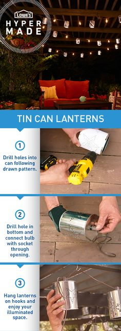 DIY tin can lanterns make for picture perfect patio lighting.