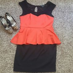 Black and red peplum dress Black and red peplum dress Forever 21 Dresses Mini