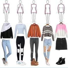 Another (warmer) helpful body type help chart! Look for you body's suited outfits and have fun! Teen Fashion Outfits, Kpop Outfits, Outfits For Teens, Trendy Outfits, Fall Outfits, Summer Outfits, Middle School Outfits, Fashion Vocabulary, Mode Streetwear