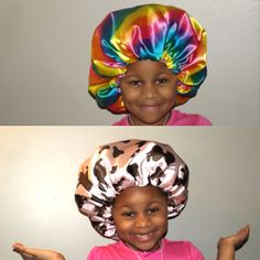 Miss Anaya rocking her rainbow print and cow print satin bonnets! She goes to sleep in style and wakes up with beautifully moisturized curls! natural haircare for kids Natural Hair Kids Go to www.naturalhairshop.com to see more satin bonnets and pillowcases! natural hair | protective styles | detangling | natural hair kids | hair care tips | natural hair information | locs | natural hair inspiration | ponytails | braids | beads | caring for natural hair | natural hair tip | shea moisture