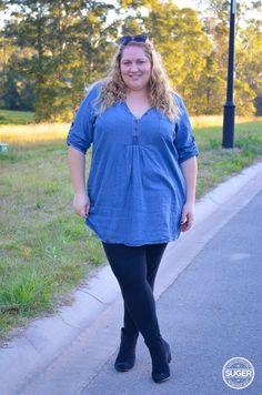 Denim Chambray Shirt Dress {She Wore What} #plus #size #fashion #blog