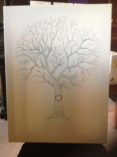 One of a kind thumb print tree guest book for weddings by xlena1, $39.95
