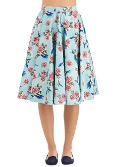 Freewheeling Whimsy Skirt. #blue #modcloth