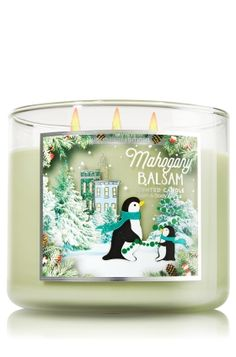 "Mahogany Balsam - 3-Wick Candle - Bath & Body Works - The Perfect 3-Wick Candle! Made using the highest concentration of fragrance oils, an exclusive blend of vegetable wax and wicks that won't burn out, our candles melt consistently & evenly, radiating enough fragrance to fill an entire room. Topped with a silver, flame-extinguishing lid! Burns approximately 25 - 45 hours and measures 4"" wide x 3 1/2"" tall."