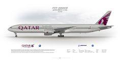 Boeing 777-300ER Qatar Airways A7-BAL | www.aviaposter.com | Civil aircraft art print | www.aviaposter.com | #scetch #art #airliners #aviation #aviaposter #jetliner #b777