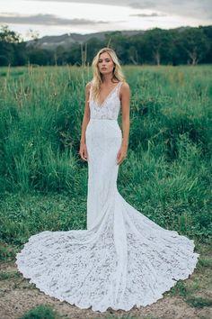 Sexy Mermaid Wedding Dress, Lace Wedding Dresses, Deep V-neck Wedding Gown, Open Back Long Wedding Dresses Bridal Gown by Miss Zhu Bridal, $249.00 USD