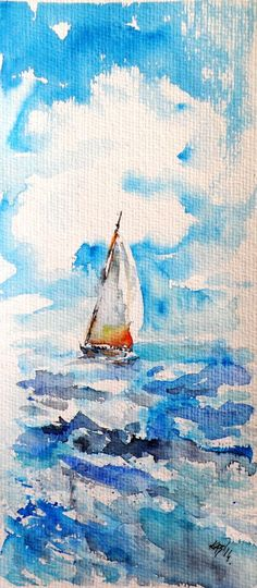 Sailboat (2014) Watercolour by Kovács Anna Brigitta