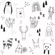 the wild children& dress - Zeichnungen - Cute Doodles Drawings, Easy Drawings, Tier Doodles, Animals For Kids, Cute Animals, Wild Animals, Art Inspiration Drawing, Drawing Ideas, Drawing Tips