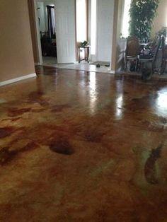 Diy Home Floor Makeover Acid Staining Concrete Floors Is A Unique Low Maintenance Options