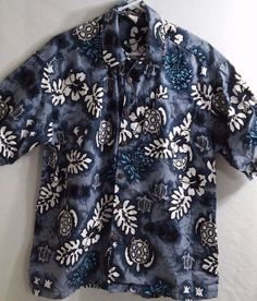 Reebesse Born in USA Hawaiian Shirt Size S Button Down Sea Turtles  C28 #Reebesse #ButtonFront