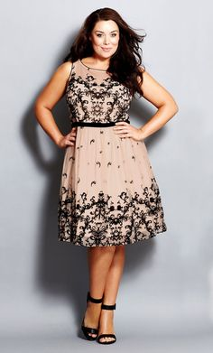 Plus Size Flocked Flirt Dress - City Chic