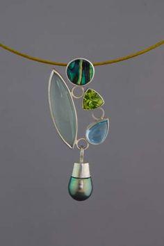 Jackie Anderson: Pearl Drop Pendant, sterling silver, aquamarine, peridot, pau shell, blue topaz, south sea pearl,
