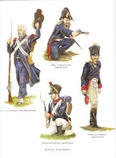 Granatiere del 1 rgt. Granatieri,  ufficiale dei cacciatori, ufficiale del 3 rgt. volteggiatori e tiragliatore del 1 rgt. tiragliatori della guardia imperiale francese
