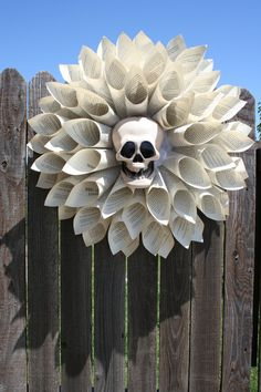 Vintage Paper Wreath with Halloween Skull