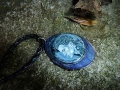 Elven Lord - metal pendant, fantasy jewellery, elf portrait, hand-made jewellry, elven art, oval pendant, blue pendant