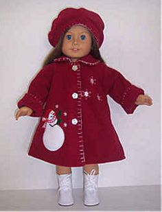"Red Fleece Snowman Coat & Hat made for 18"" American Girl Doll Clothes #DollClothes"