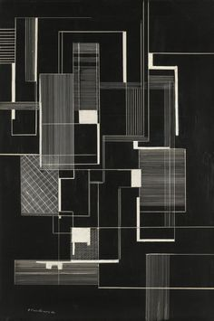 Irene Rice Pereira, Black and White, Ink and gouache on scratchboard, 18 x 12 inches x 32 cm) Architecture Drawings, Architecture Design, Water Architecture, Shape Collage, Museums In Nyc, Composition Art, Scratchboard, Web Design, Graphic Design