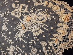 French Lace - Colors - Cream, Pale Yellow, Charcoal Gray