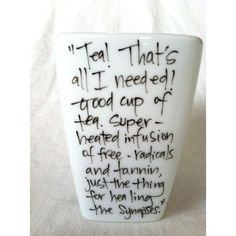 "Doctor Who ""Good cup of tea"" Tenth Doctor Quote Mug with Sonic... ($8) ❤ liked on Polyvore"