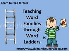 Teaching word families through word ladders -free videos and worksheets Kindergarten Reading, Reading Activities, Teaching Reading, Reading Games, Letter Activities, Reading Groups, Reading Strategies, Literacy Activities, Word Ladders