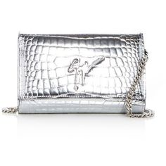 Giuseppe Zanotti Croc Embossed Leather Clutch (€645) ❤ liked on Polyvore featuring bags, handbags, clutches, croc embossed leather handbags, hand bags, white clutches, white purse and crocodile embossed leather handbags