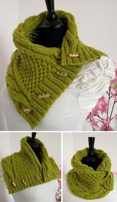 Knitting Pattern for Alice Cowl - This versatile neckwarmer scarf-style cowl features cables and texture and can be worn many different ways.