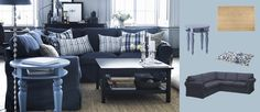 EKTORP corner sofa with Jonsboda blue cover, HEMNES black-brown coffee table and ISALA blue side table