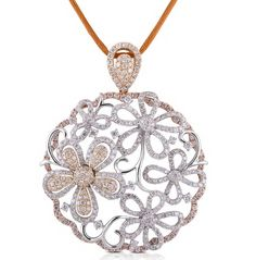 Two Tone Gold Antiqued Flowers Pave Set Round Diamond Circle Pendant | eBay