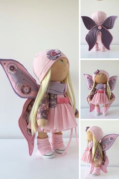 Butterfly doll Tilda doll Art doll handmade pink blonde colors Baby doll Soft doll Cloth doll Fabric doll toy by Master Yulia Postnova