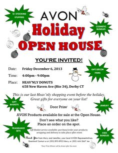 #Avon Open House this Friday Dec 6th in Derby CT at Heav'nly Donuts.  4pm - 9pm.  Stop by to #shop for everyone on your #holiday list!