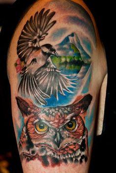 Great Horned Owl Tattoo w/ Chickadee & Mountain