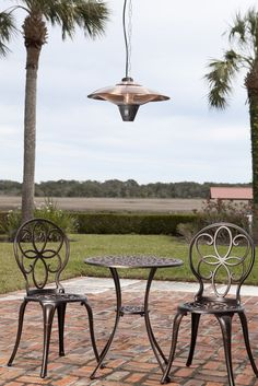 Gunnison Brushed Copper Colored Hanging Halogen Patio Heater   Backyard  Home Oasis