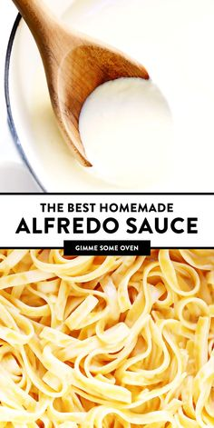 This homemade Alfredo sauce recipe is full of the BEST creamy, cheesy, garlicky flavors. Perfect on fettuccine, chicken, pizza and more! Gnocchi, Best Alfredo Sauce Recipe, Sauce Recipes, Cooking Recipes, Sauces, Shrimp Pizza, Chicken Pizza, Fettuccine Pasta, Homemade Alfredo