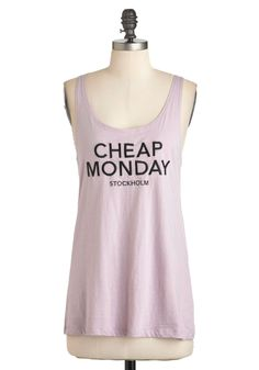 Logo-Getter Tank in Lavender by Cheap Monday - Purple, Black, Solid, Cocktail, Urban, Tank top (2 thick straps), Mid-length