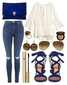 """""""Untitled #654"""" by daimy-style ❤ liked on Polyvore featuring Topshop, H&M, Gianvito Rossi, Proenza Schouler, Ray-Ban, Blue Candy Jewelry, First People First and Gucci"""