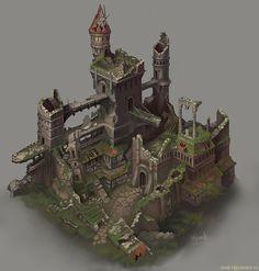 The ruin. Picture  (2d, architecture, game art, castle, ruins, fantasy)