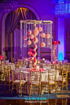 I could recreate this with fake flower lei wrapped around a plastic hula hoop, hanging crystals and paper flowers then hang it from the ceiling Reception Decorations, Event Decor, Tree Decorations, Floral Centerpieces, Wedding Centerpieces, Crystal Centerpieces, Asian Wedding Themes, Hanging Flowers, Paper Flowers