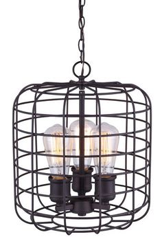 """Patriot Lighting®  Afton Oil Rubbed Bronze 12"""" 3 Light Pendant/Chandlier with Vintage Style Bulbs Included"""
