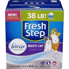 Fresh Step Multi-Cat with Febreze Freshness, Clumping Cat Litter, Scented, 38 Pounds, Gray
