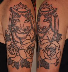 So cute. Love how the kitty is popping out of the frame and the roses beneath.